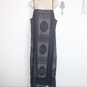 Floreat L Black Spaghetti Strap Dress Sheer Maxi